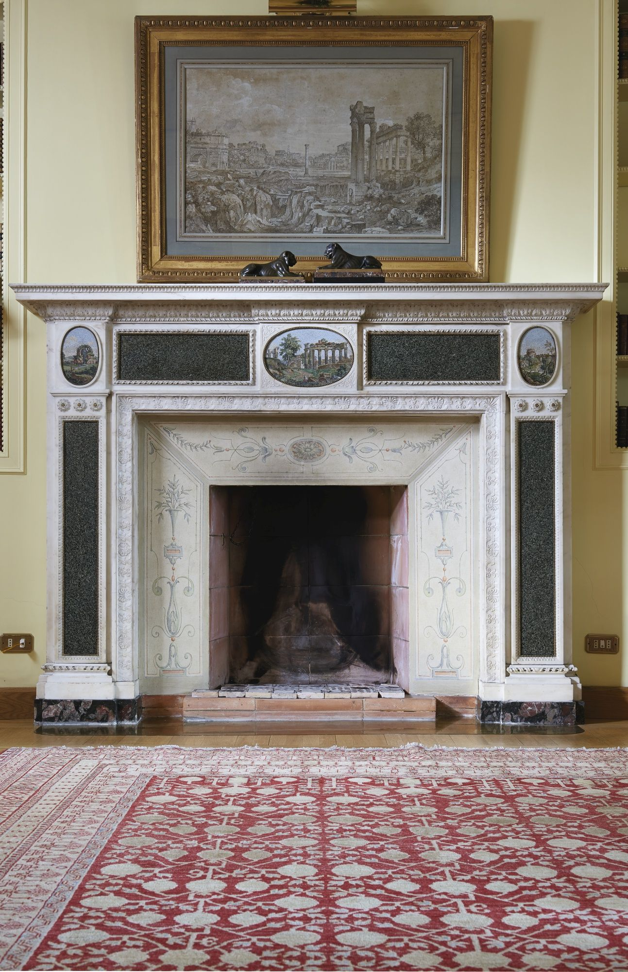 A Carved Neoclassical White Marble Green Granite And Micro Mosaic Chimney Piece Rome Circa 1778 1780 The Chim 19th Century Paintings Green Granite Sothebys