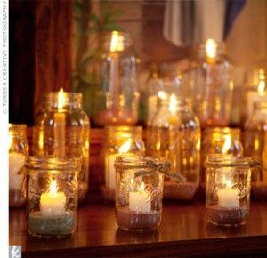 old bottle candle jars