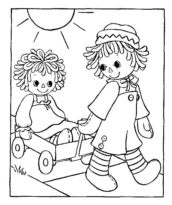 Raggedy ann colouring pages