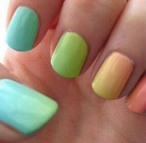 Rainbow neon nail gradient