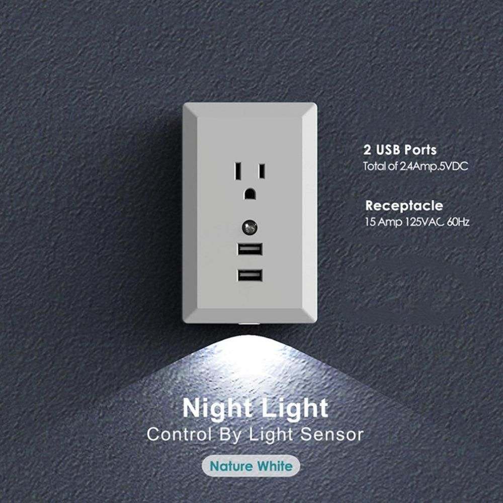 Smart usb wall socket with motion sensor light used for usb phone smart usb wall socket with motion sensor light used for usb phone charging dual wall plate mozeypictures Choice Image
