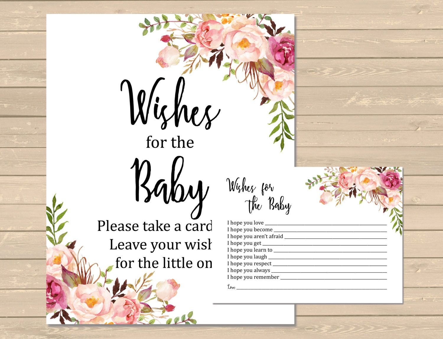 Floral wishes for baby printable cards and sign floral