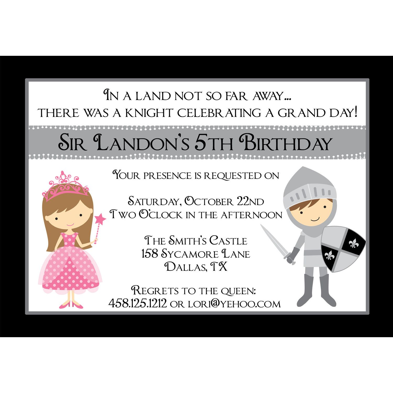 Knight & Princess Personalized Birthday Invitation - Digital ...