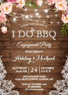 I DO BBQ Engagement Party Rustic Country Floral Invitation #dressesforengagementparty