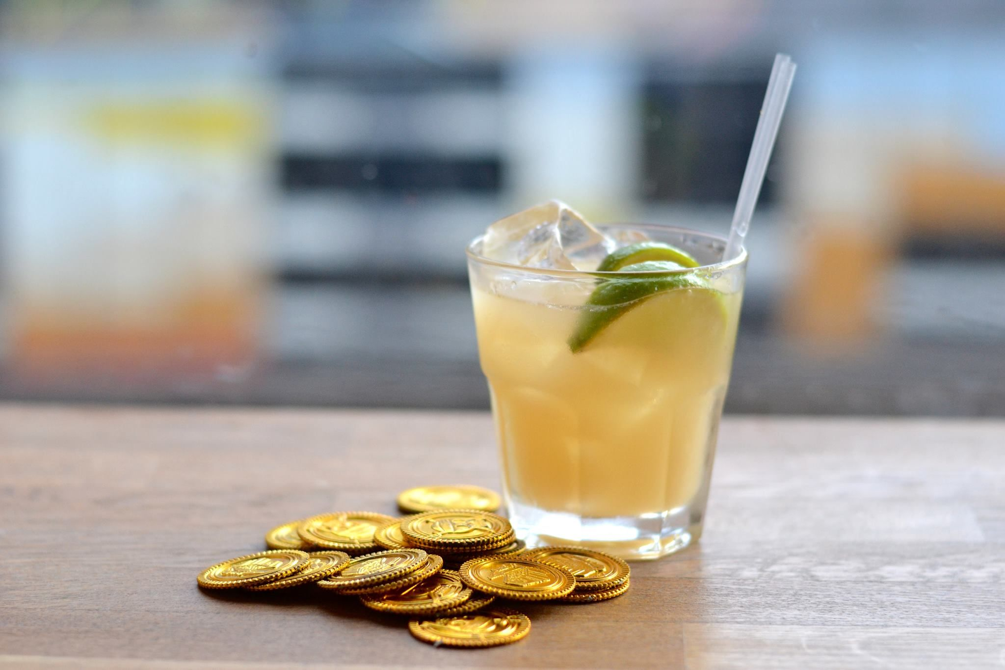 Spiced Mai Tai; Brugal Dry Spiced Rum shaken with Brugal Anejo, almond, lime and orange.  Crisp, short and refreshing.