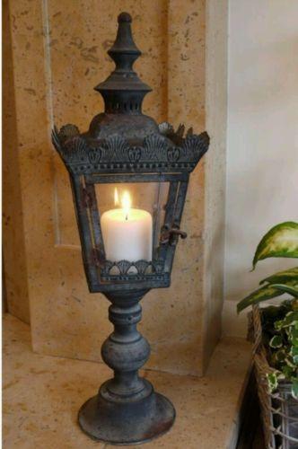 Antique Large Lantern Candle Holder Black Home or Garden French ...