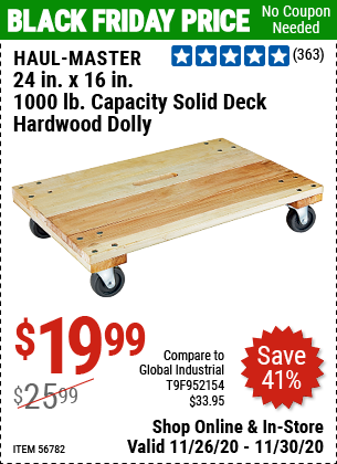 Haul Master 24 In X 16 In 1000 Lbs Capacity Solid Deck Hardwood Dolly Item 56782 For 19 99 Harbor Freight Tools Harbor Freight Coupon Hardwood Decking