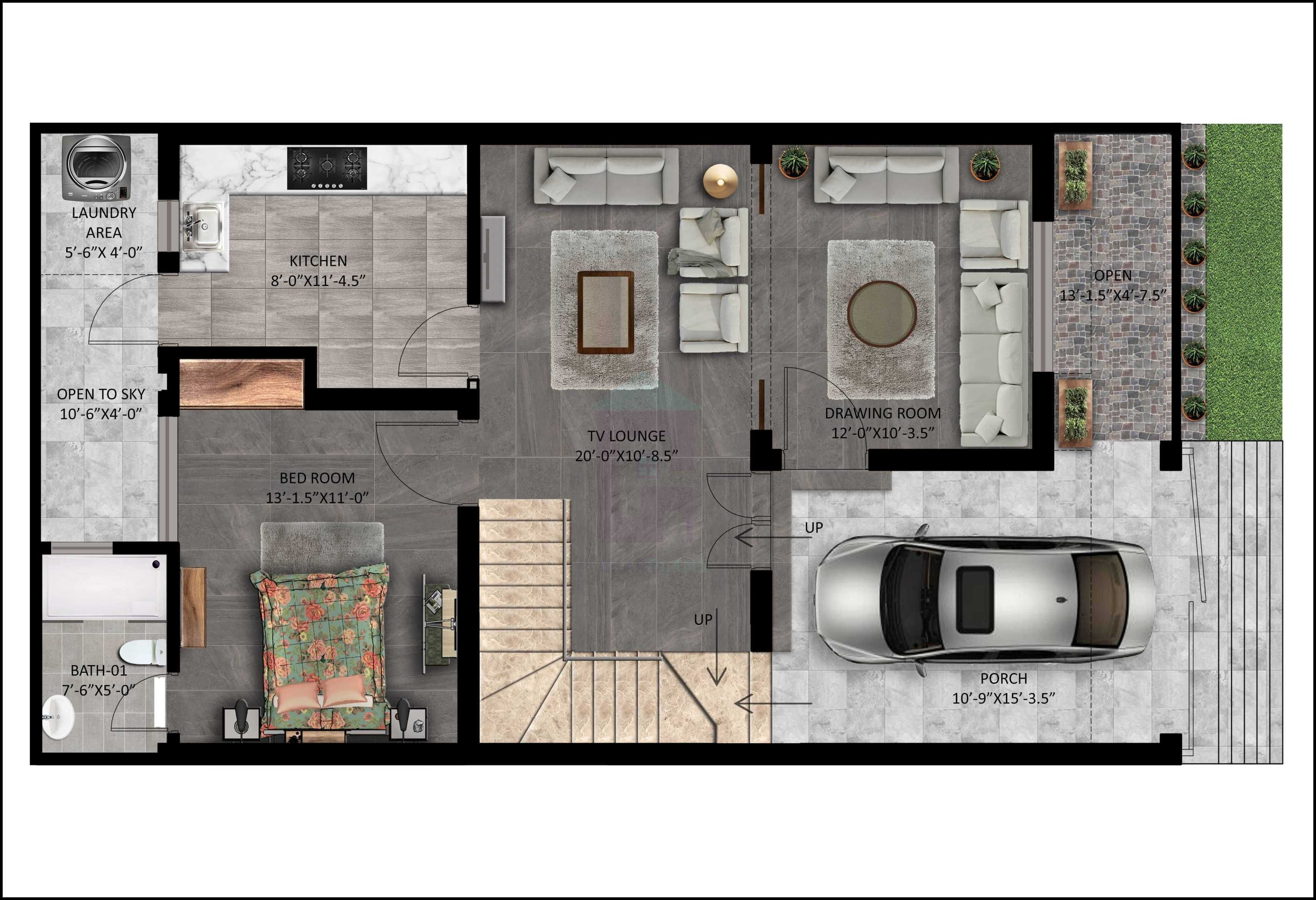 5 Marla House Design with Front Elevation Ghar Plans