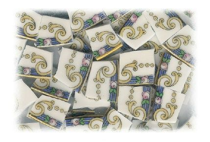 Pink Rose on Blue Band with Yellow Scrolling Broken China Mosaic Tiles