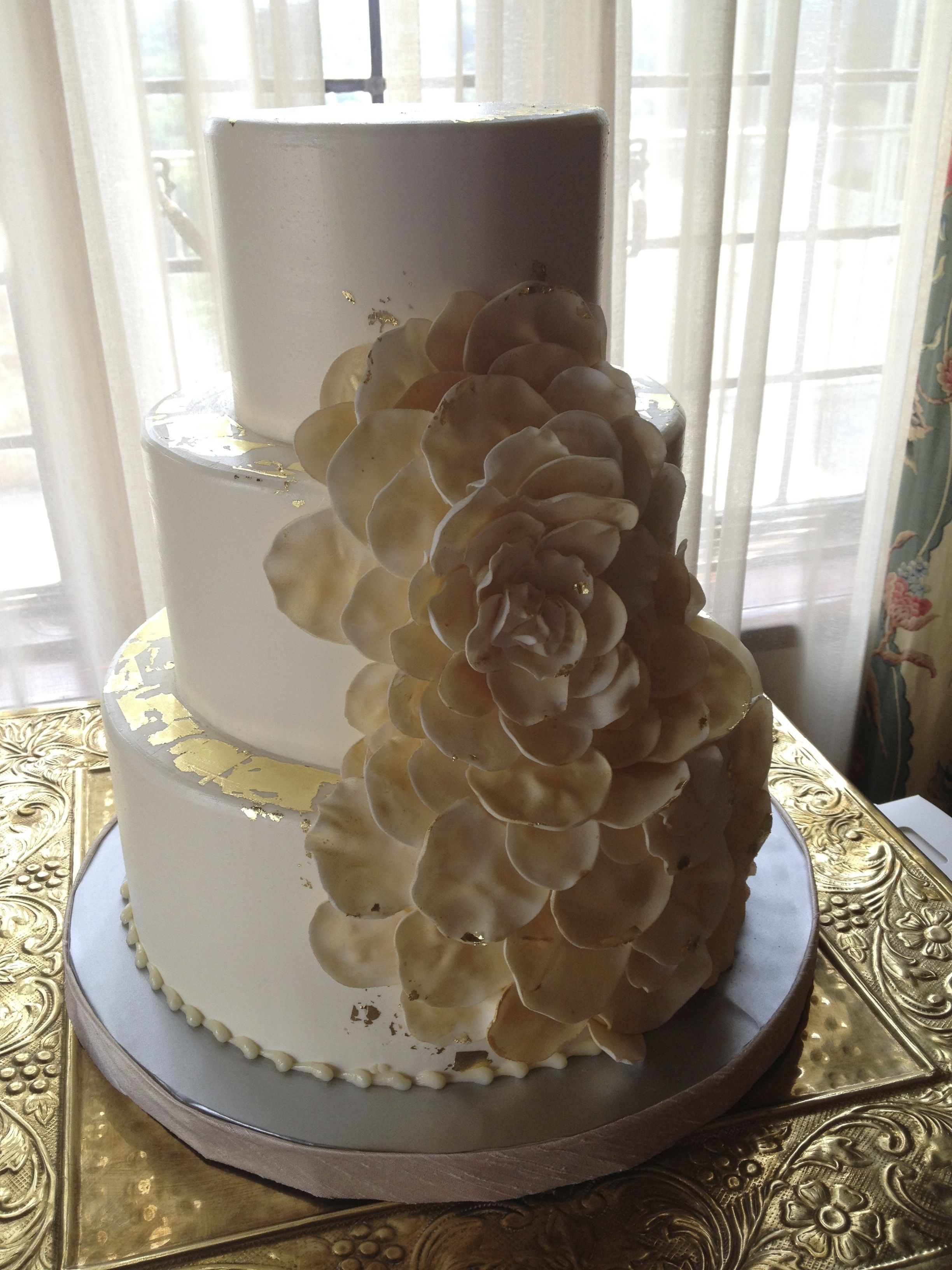 Magpies Bakery Knoxville, TN Buttercream Wedding Cake With Custom Fondant  Petal Work And Gold Leaf