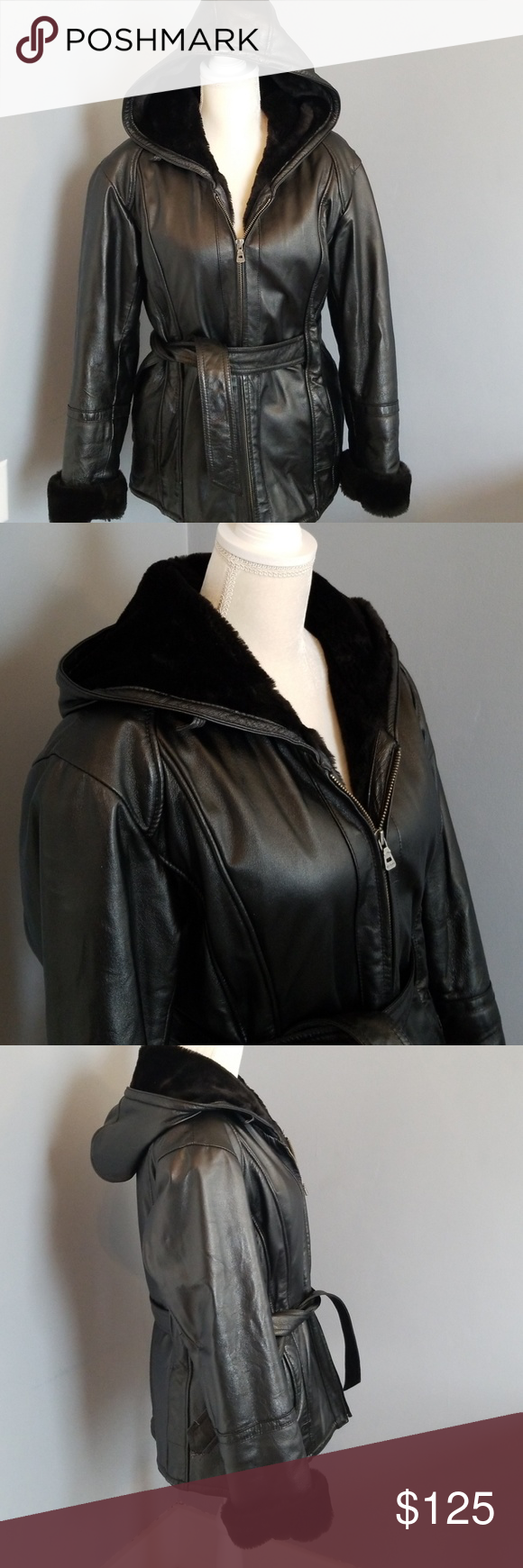 Wilson's Leather Black Hooded Heavy Winter Coat Made for