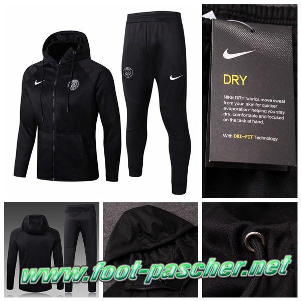new concept a08c1 7fd65 Sweat a Capuche Survetement Nike Pas Cher Homme PSG Noir 2018 Ensemble  Replica