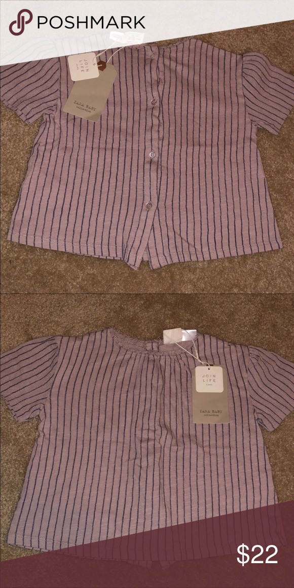 80fd13dbd NWT Zara Baby Striped T-shirt Faded Pink NWT Zara top size 12-18m .. the  button side is the back of the shirt Zara Shirts & Tops Tees - Short Sleeve