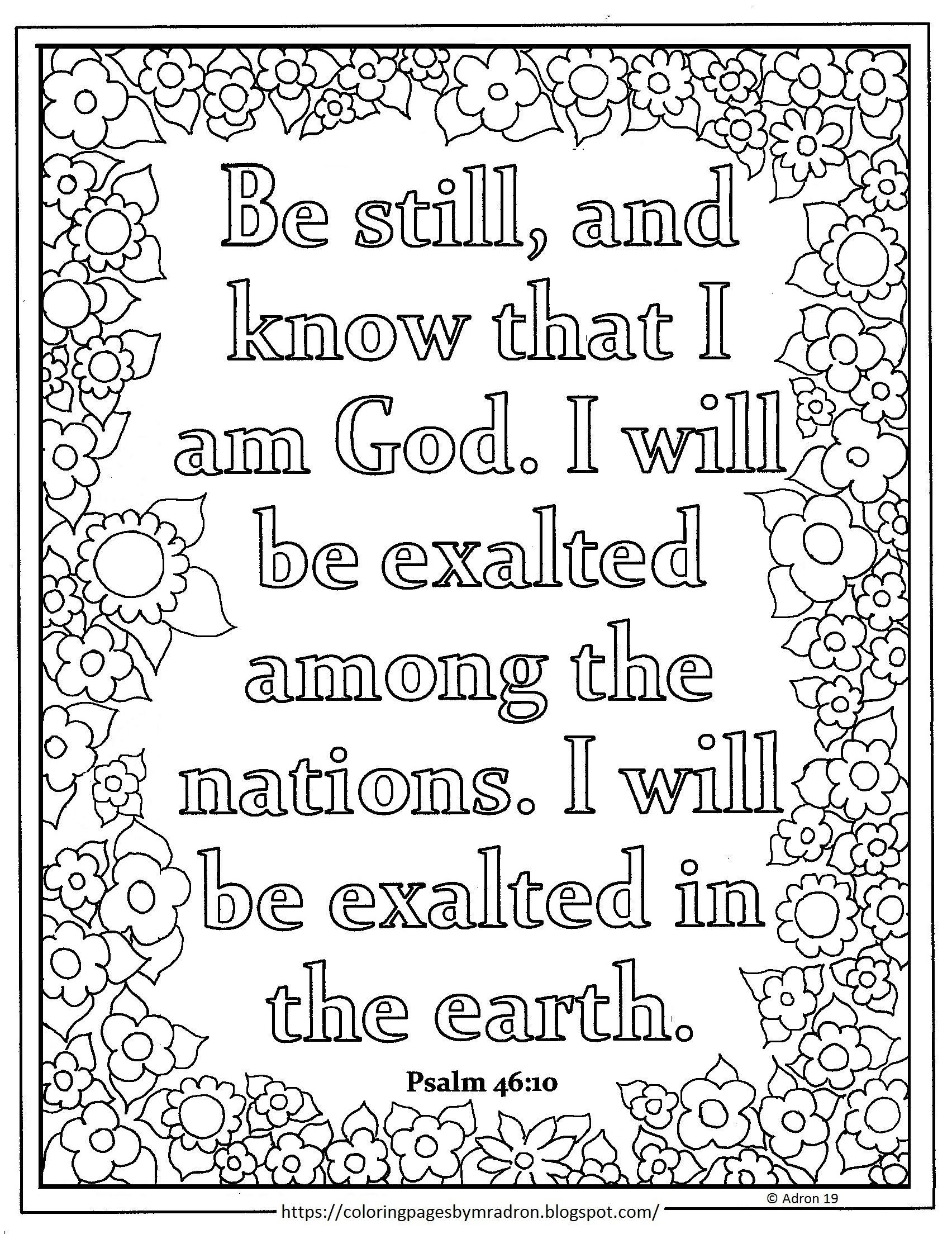 Free Psalm 46 10 Print And Color Page For Lent Day 26