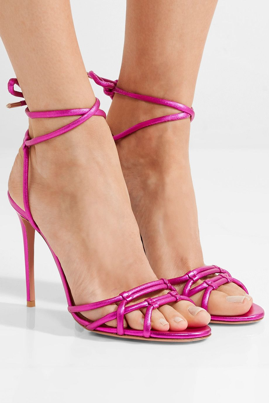 Aquazzura Laura Metallic Leather Sandals - Magenta