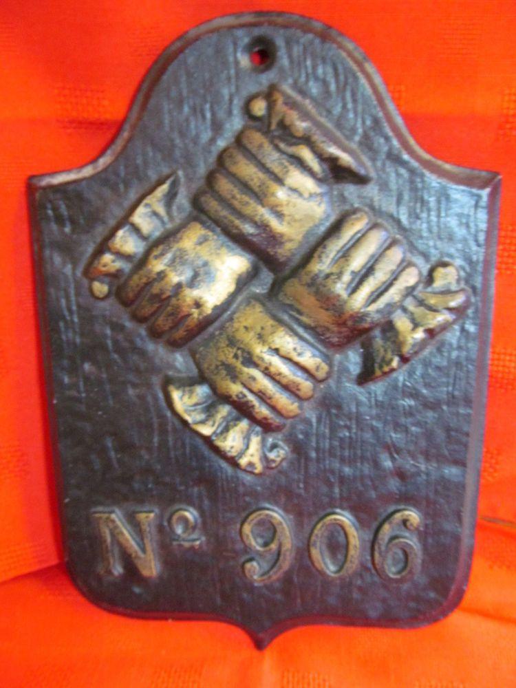 Fire insurance cast iron plaque contributionship