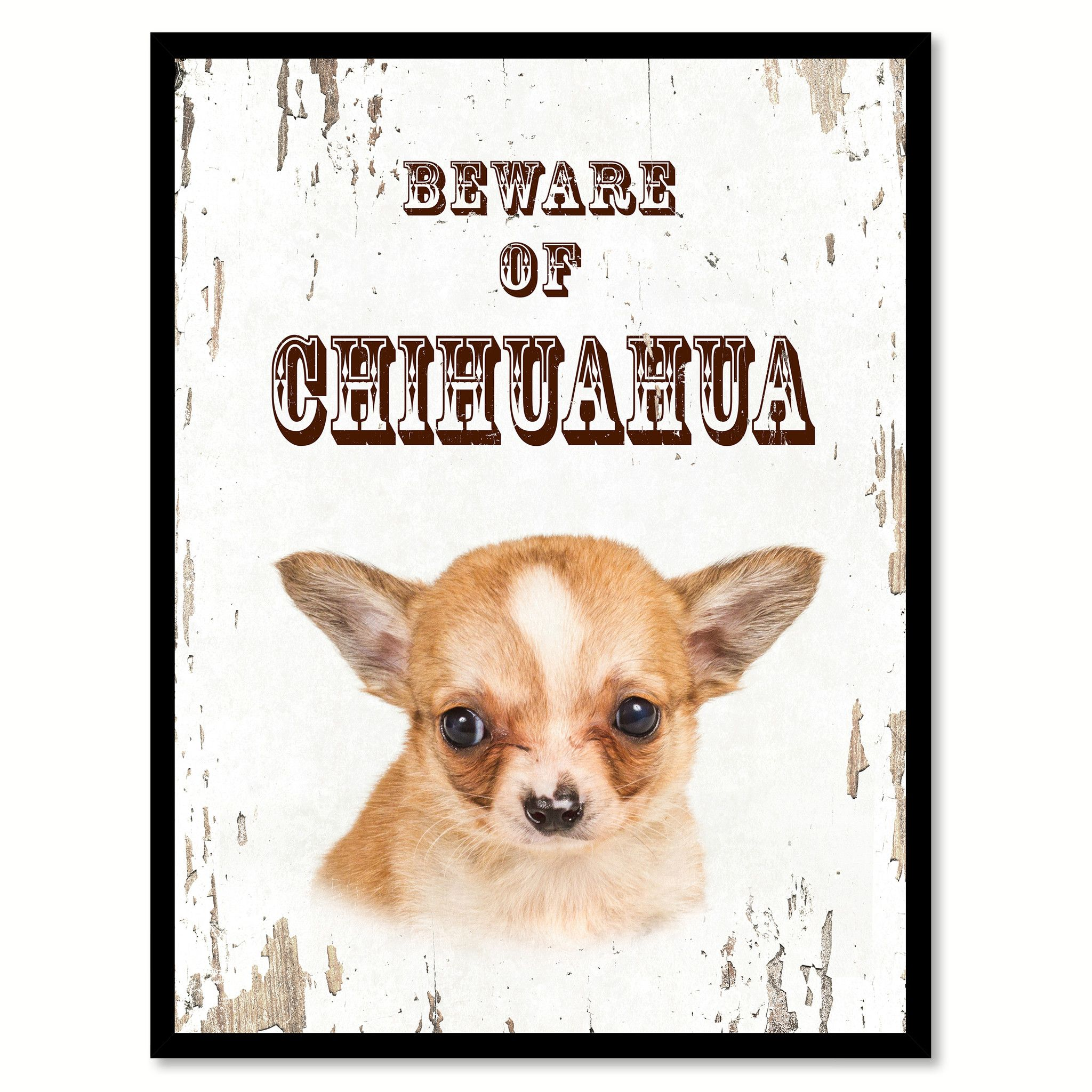 Beware of Chihuahua Dog Sign Gifts Canvas Print Home Décor Picture ...