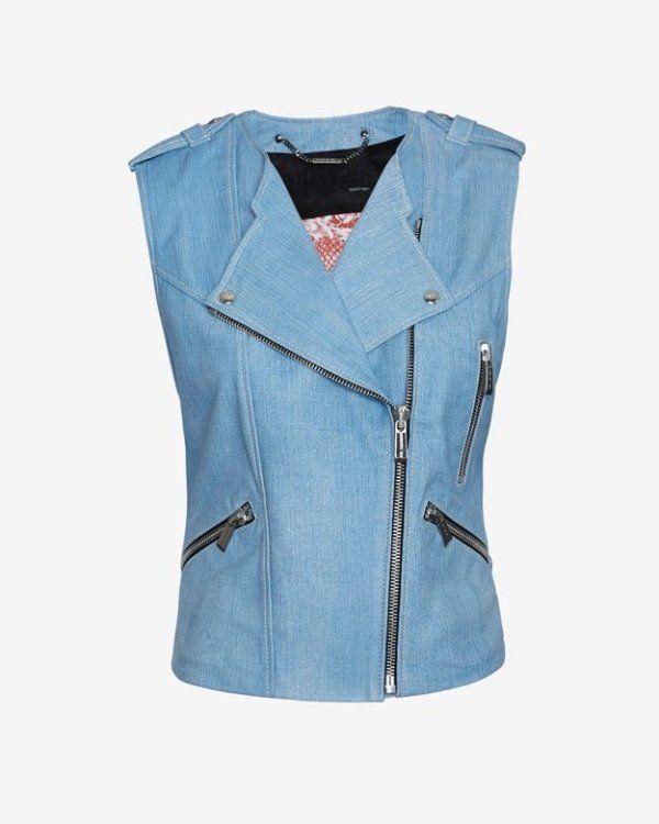 NWOT Sz 38-4 Barbara Bui Moto 'Blue Jean' Leather Sleeveless Lined Vest #BarbaraBui #Vest