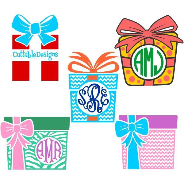 Gift Box Monogram Svg Cuttable Frame Cut File Vector Clipart