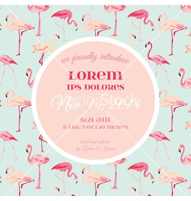 baby arrival or shower card - with flamingo vector 4123033 - by, Baby shower invitations