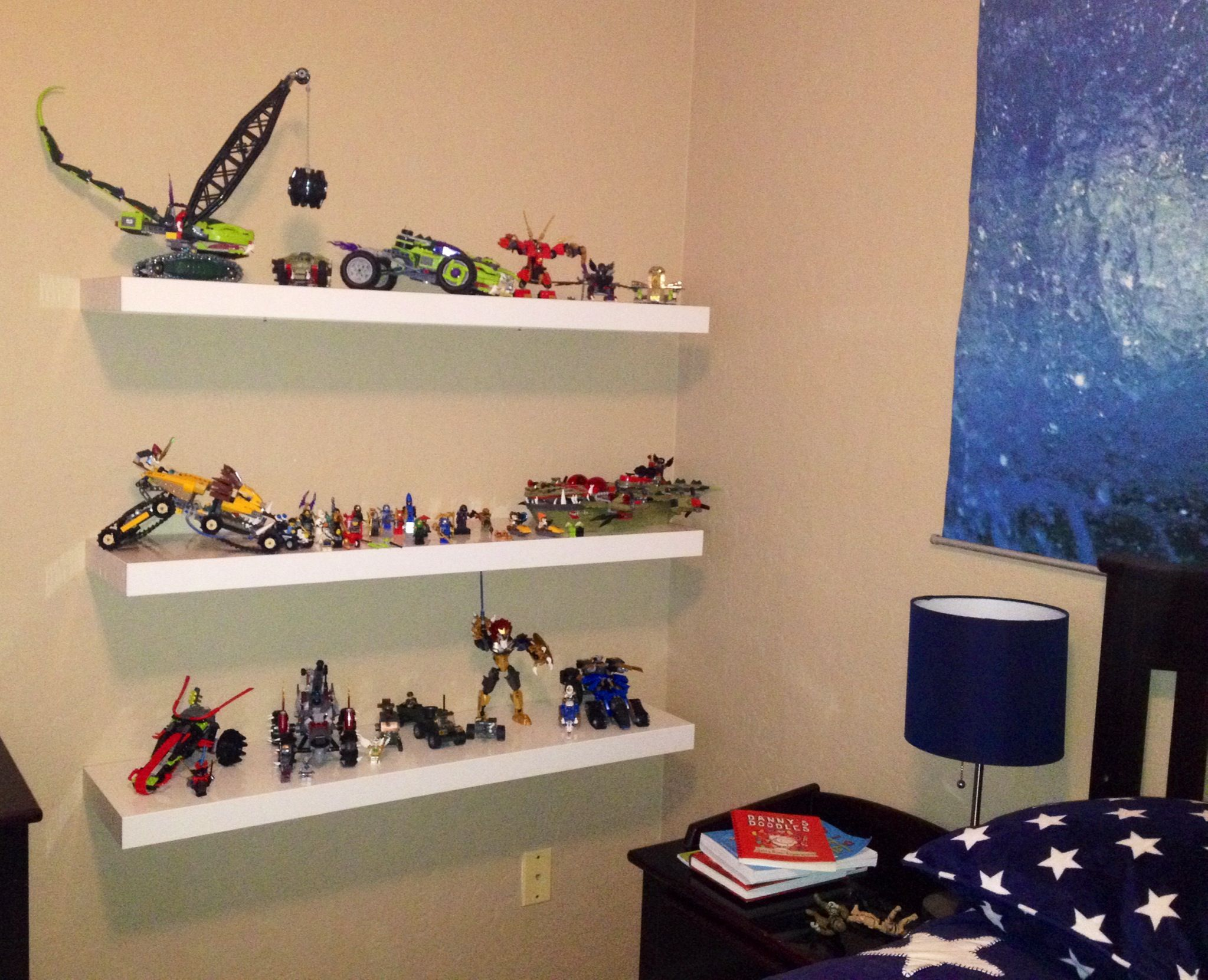 Ikea lack shelf for lego display storage kids 39 room idea for Wall shelves kids room