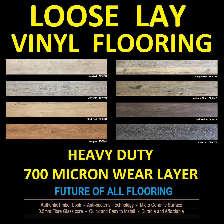 Loose LAY Vinyl Flooring Planks Floor DIY NO Floating Click Glue Down Laminate | eBay