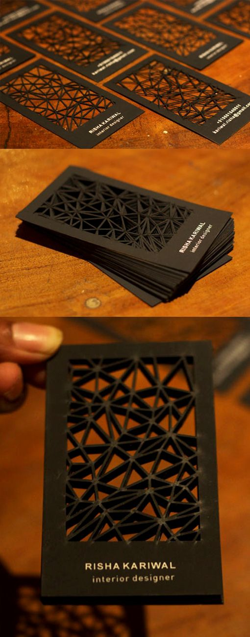 Intricate Laser Cut Black Business Card For An Interior Designer