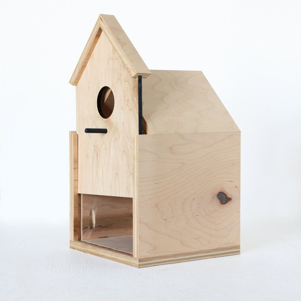 Modern Birdhouse Made From Maple Ply With Sliding Front