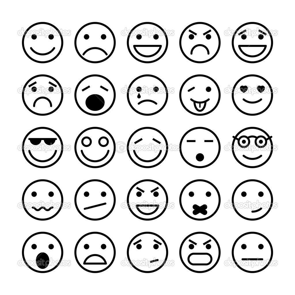 Emoji Happy Face Coloring Page Smile Icon Emotion Faces Different Emotions