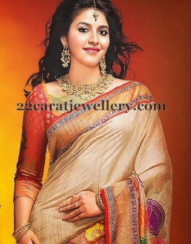 anjali in gottapusalu necklace indian jewelry saree and