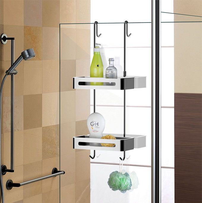 Sanliv over door double shelf hanging shower caddy baskets for Bath shower accessories