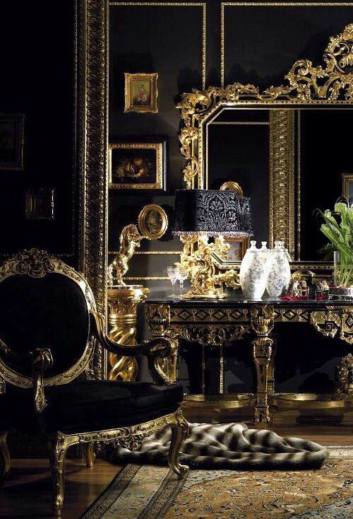 Pin by teresa gentile on home my place of serenity pinterest gold rooms gold bedroom for Black and gold living room ideas