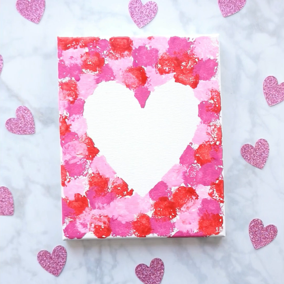 Cotton Ball Heart Painting Crafts for Kids #craftsforkids