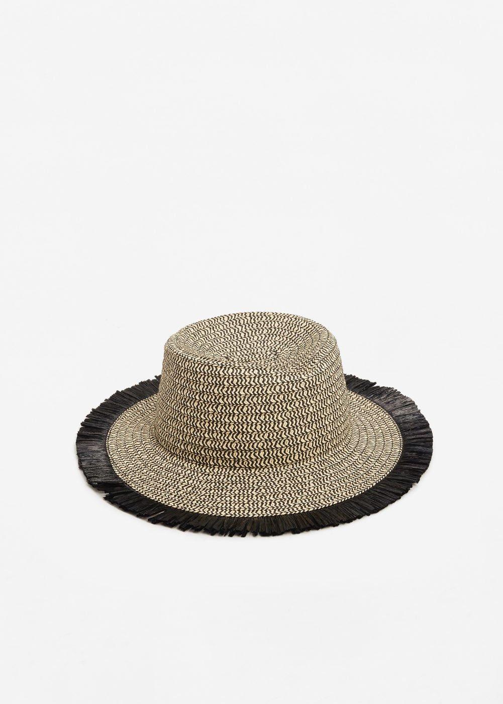 Sombrero paja bicolor - Mujer  9f82be4ec99