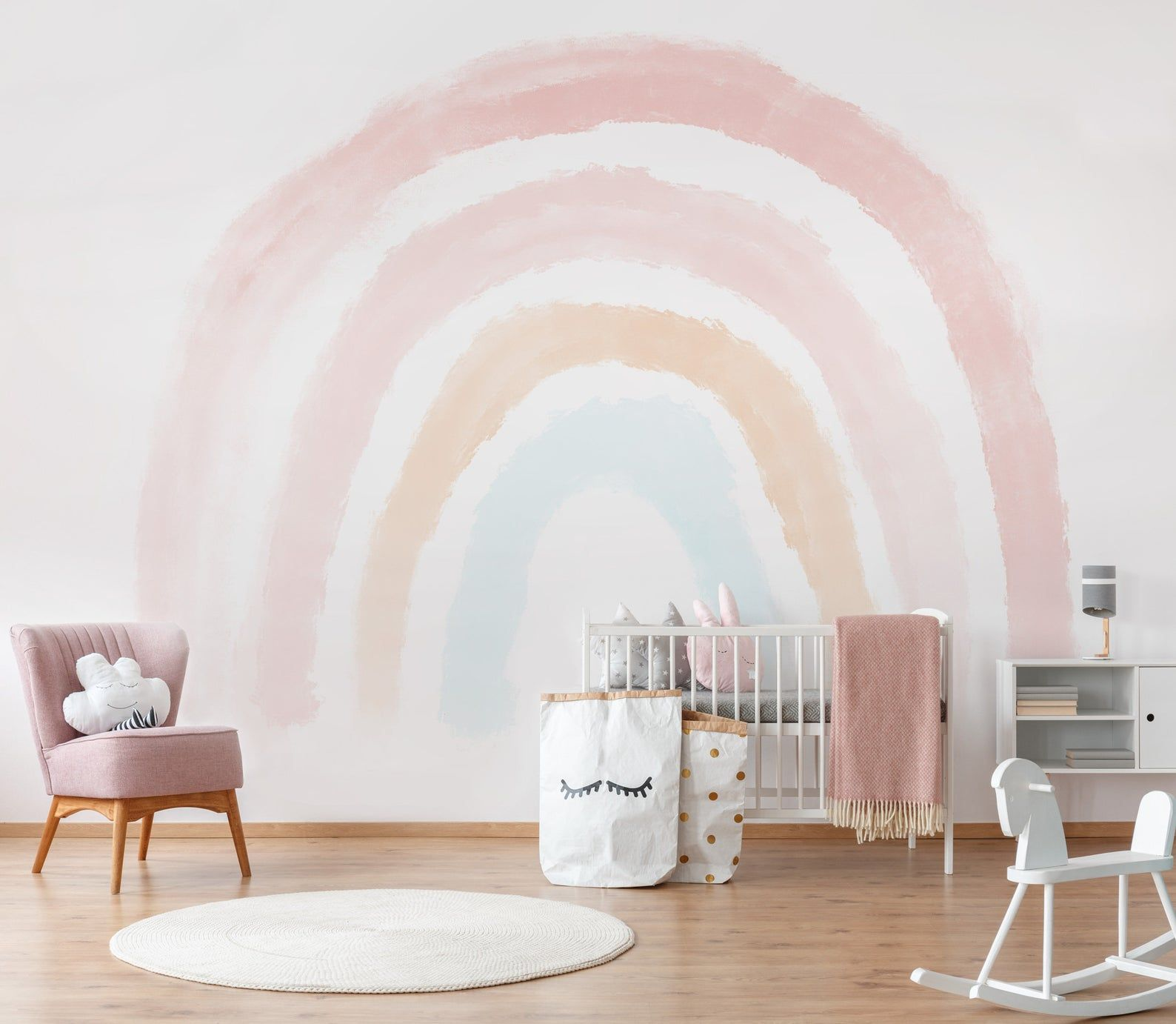 Boho Coral Peach Pink Rainbow Removable Wallpaper Pastel Etsy In 2021 Rainbow Wall Decal Rainbow Wallpaper Rainbow Wall