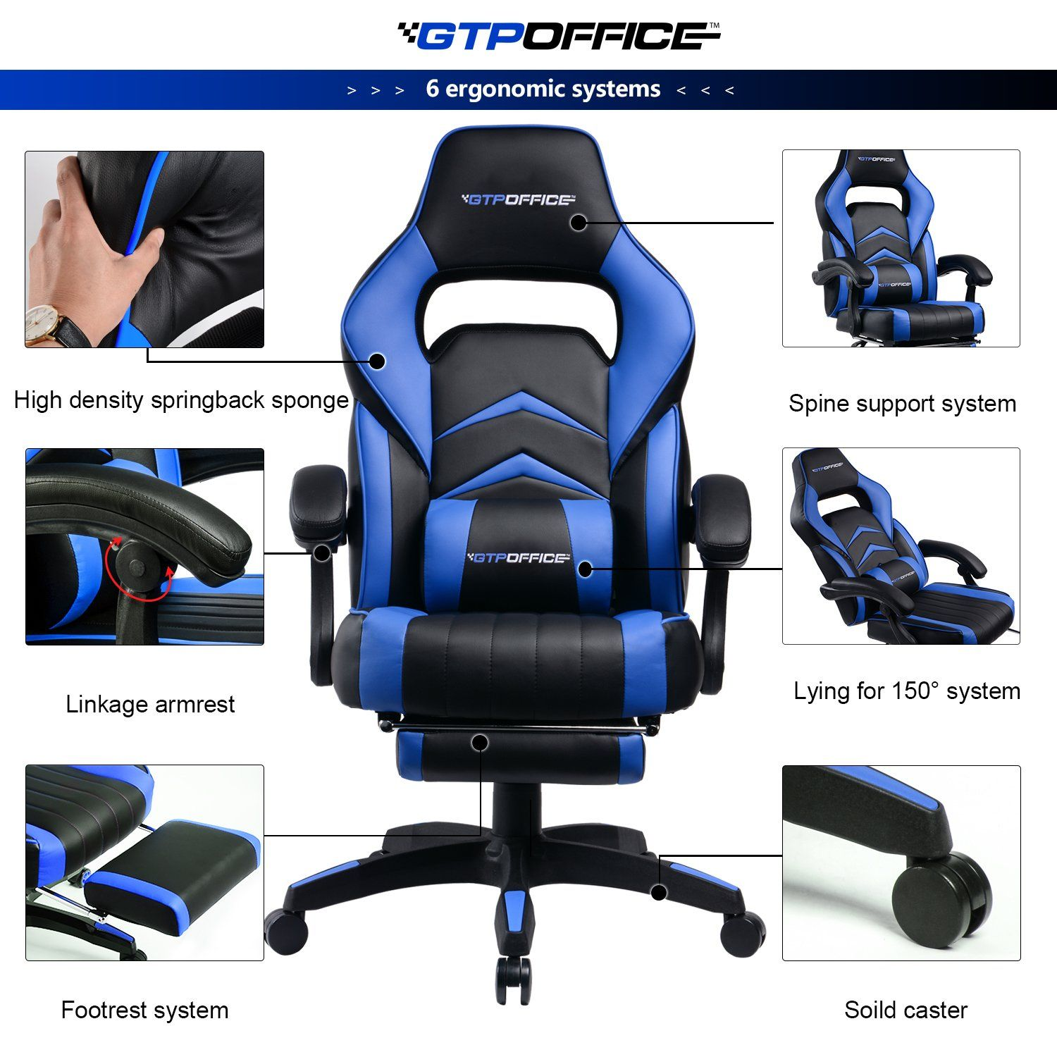 Gaming chair racing style office swivel computer desk
