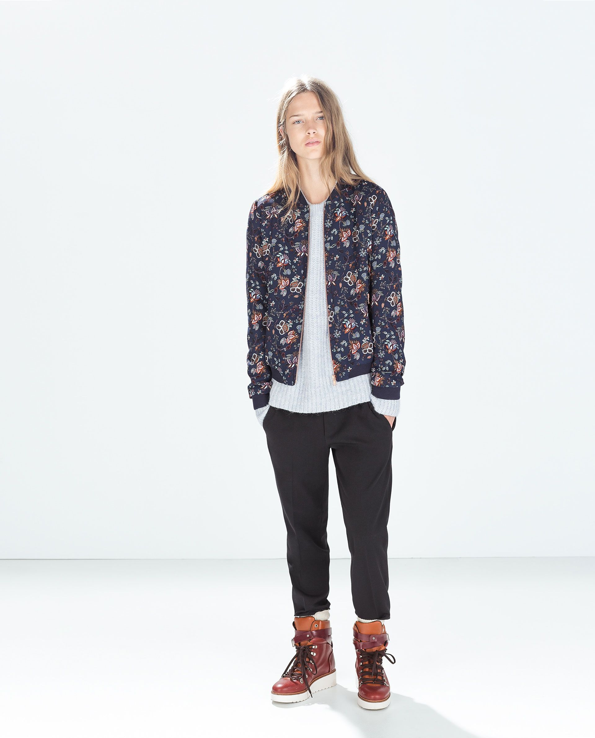 Image 1 of FLORAL BOMBER JACKET from Zara Floral bomber