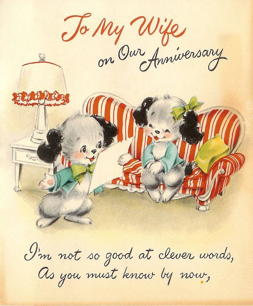 To my wife on our anniversary. cards cute vintage