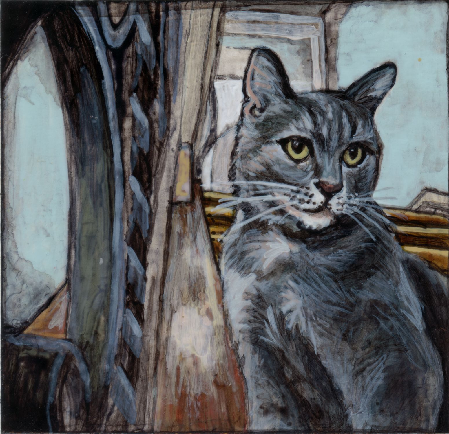 Original Painting Of A Gray Tabby Named Greta By Amy Morrissey Minorsaint Greta Is The Shyest Sweete With Images Pet Portrait Paintings Custom Pet Portraits Cat Art