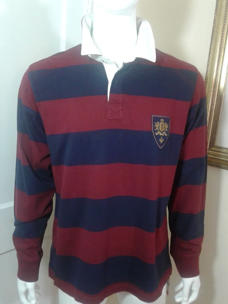 c61769c8 Izod Polo Rugby Shirt Striped Long Sleeve Men's Large Blue Wine Striped  #IZOD #PoloRugby
