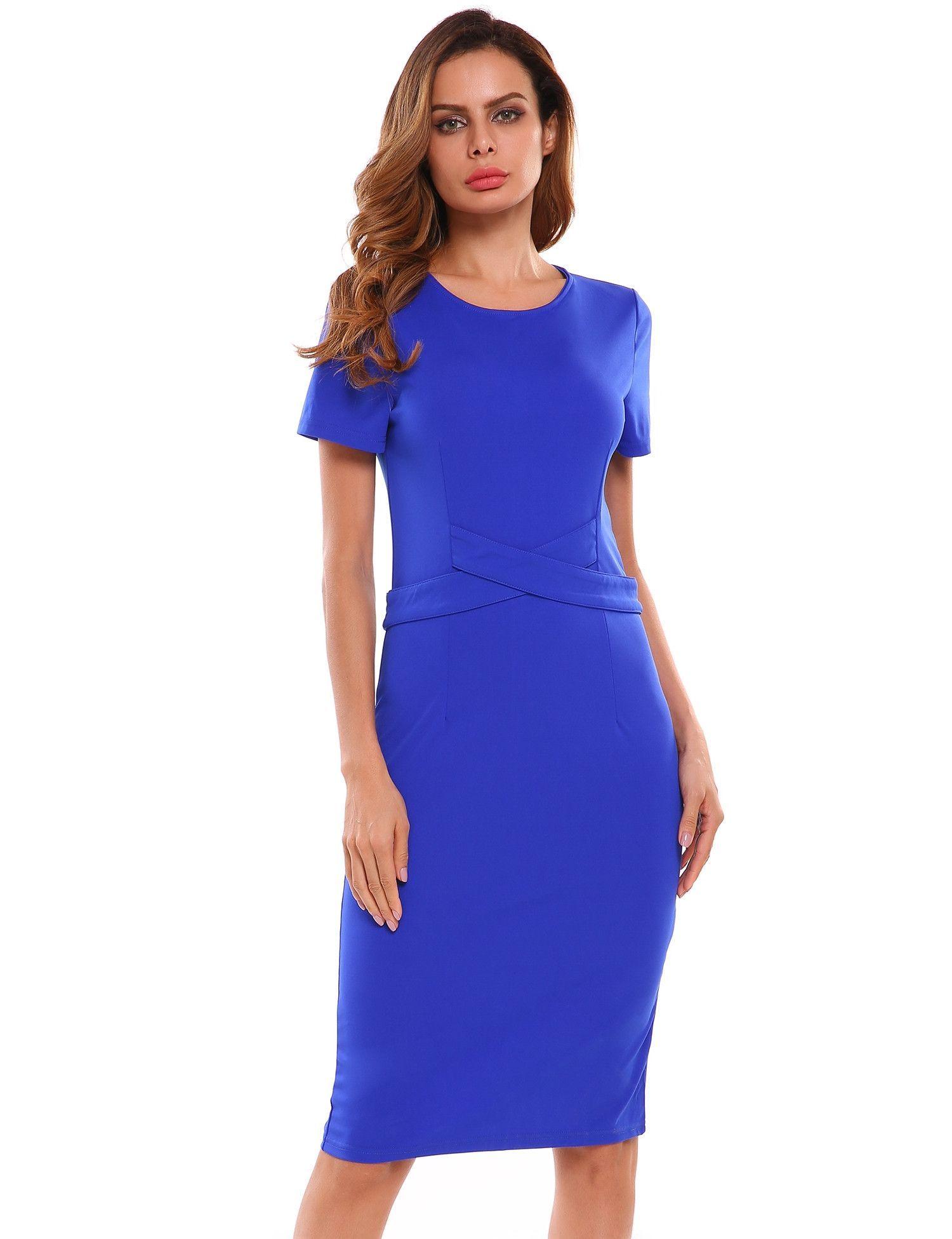 O-Neck Short Sleeve Solid Back Split Pencil Dress | Kleider
