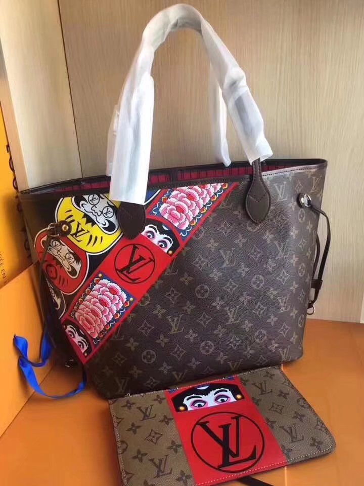 ff24e7fce1 Replica Louis Vuitton Neverfull Mm Kabuki M43499 With Pouch Brown Tote Bag  ID 36031