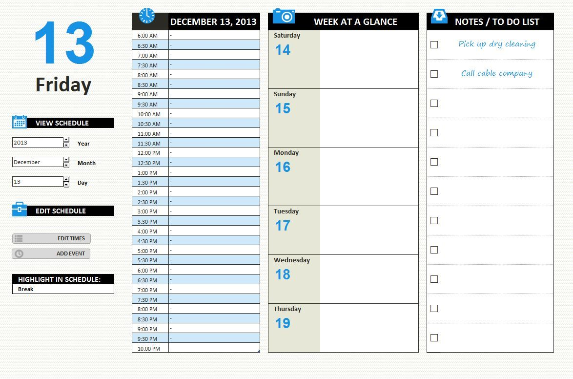 Free Daily Work Schedule Template Excel  Planners Calendars
