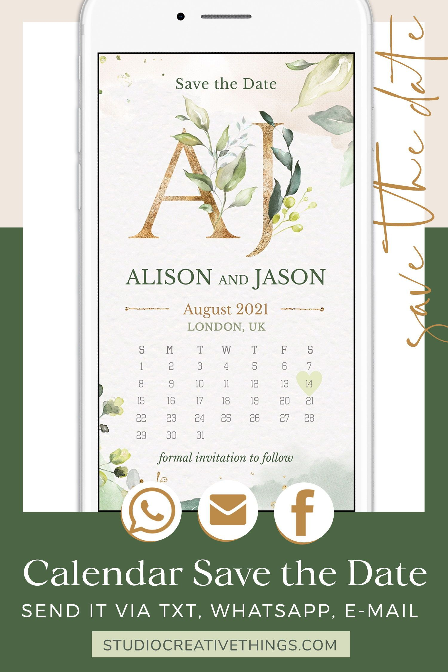 Calendar Save The Date Template Electronic Invitations Etsy Electronic Invitations Save The Date Templates Free Wedding Planner
