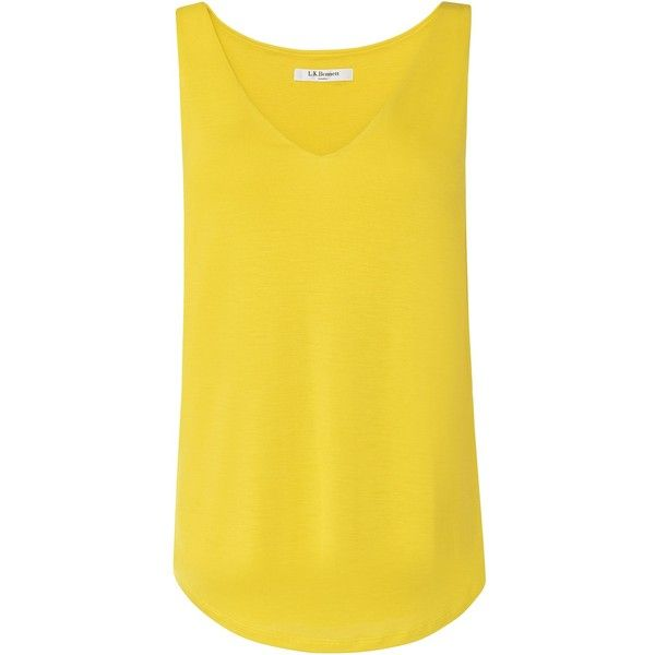 L.K. Bennett Ada Sleeveless V Neck Jersey Tops (€52) ❤ liked on Polyvore featuring tops, women, yellow, jersey tank top, v neck tank, jersey tank, yellow top and yellow tank top