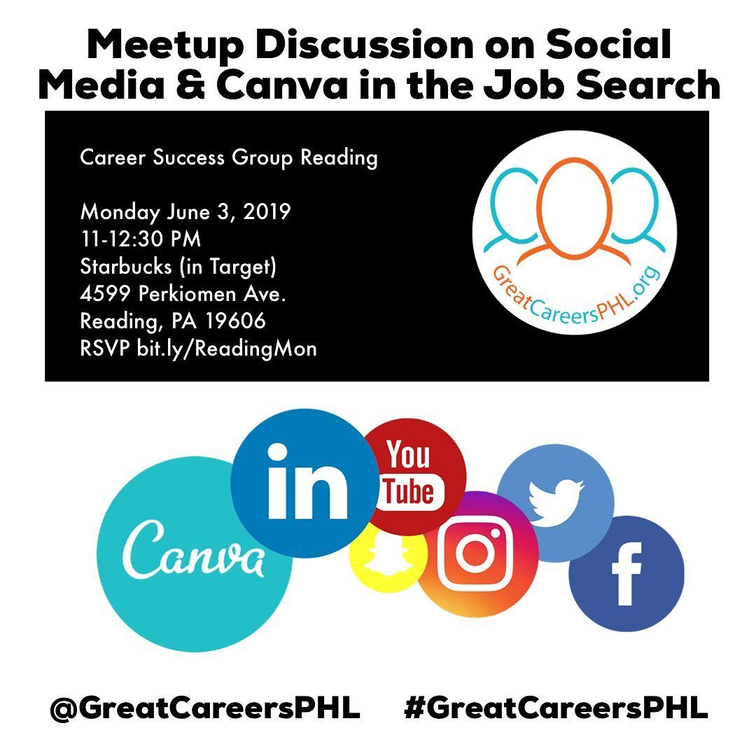 Join The Discussion Of Social Media And Canva In The Job Search On Monday June 3rd At The Career Success Group Readi Reading Groups Career Success Social Media