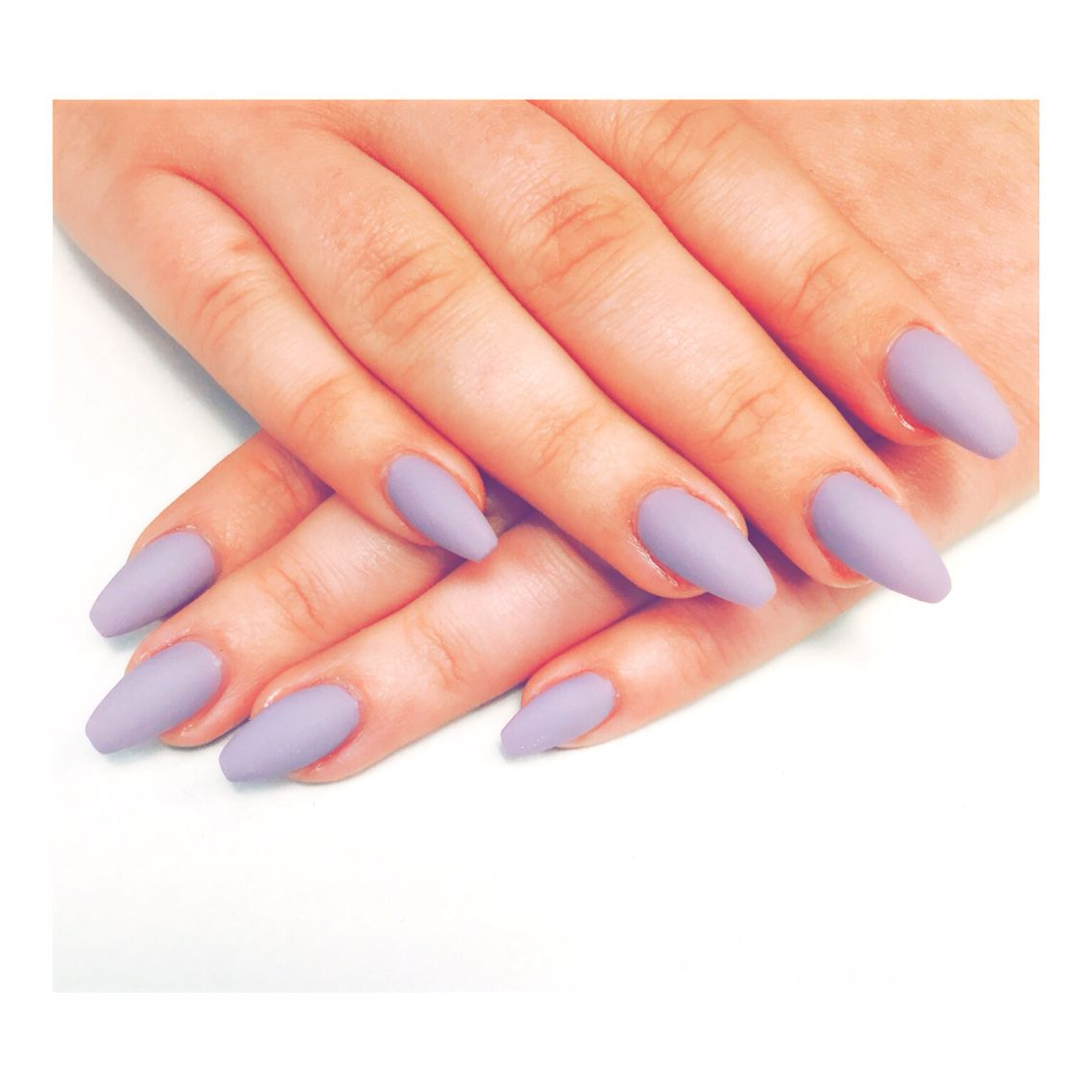 Matte Lilac Ballerina Gel Nails Done At Fiq