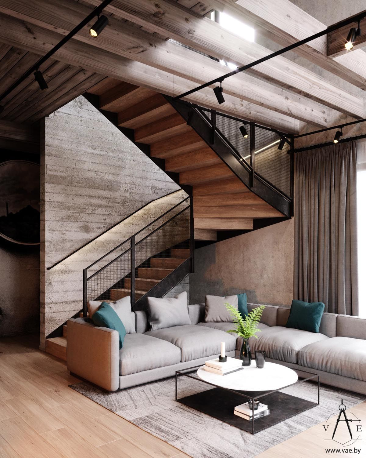 Warm Industrial Style House With Layout Skales Trapezaki