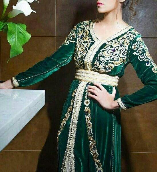 قفطان اخضر Moroccan Clothing Moroccan Dress Moroccan Fashion