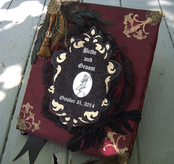 Hey, I found this really awesome Etsy listing at https://www.etsy.com/listing/230986204/gothic-wedding-guestbook-personalized